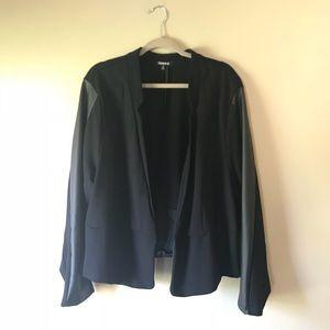 Torrid Black Ponte Knit Blazer w Faux Leather